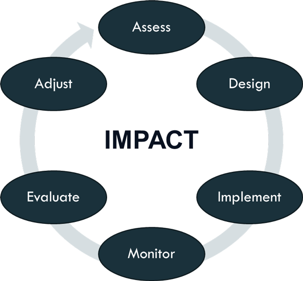 Assess, design, implement, monitor, evaluate, adjust, assess to create impact cycle diagram